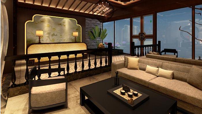 150平方新中式spa会所前台接待区域装修设计案例效果图图片