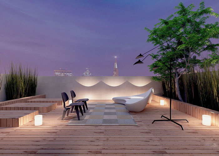 杭州1800平高端私人会所装修设计案例天台效果图