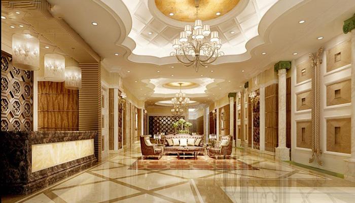 大理石前台桌面,地面,墙壁等,打造一个欧式风格养生馆室内环境.