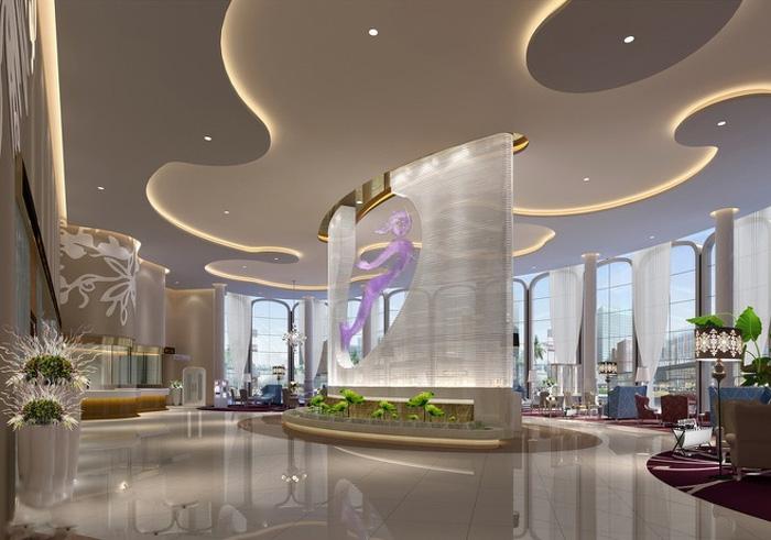 杭州1500平大型豪華整形美容醫院裝修設計大廳效果圖圖片