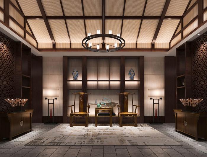 2650平大型中式风格养生馆装修设计效果图