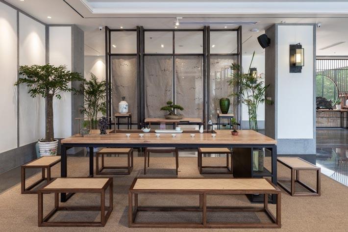 新中式饭店接待装修设计效果图