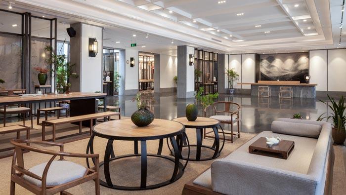 新中式饭店大厅装修设计效果图