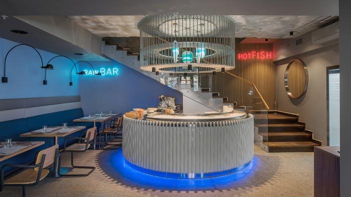 两层海鲜餐厅前台装修设计效果图