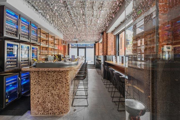 两层海鲜餐厅吧台装修设计效果图