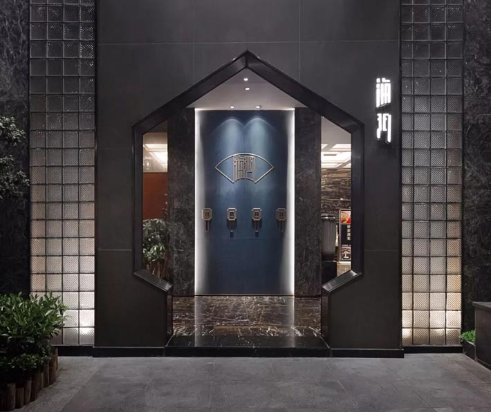 海鲜餐馆入口装修设计效果图