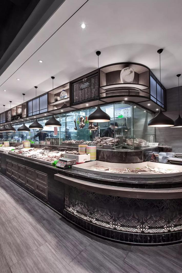 海鲜餐馆展示区修设计效果图