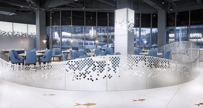 海鲜馆餐区装修设计效果图