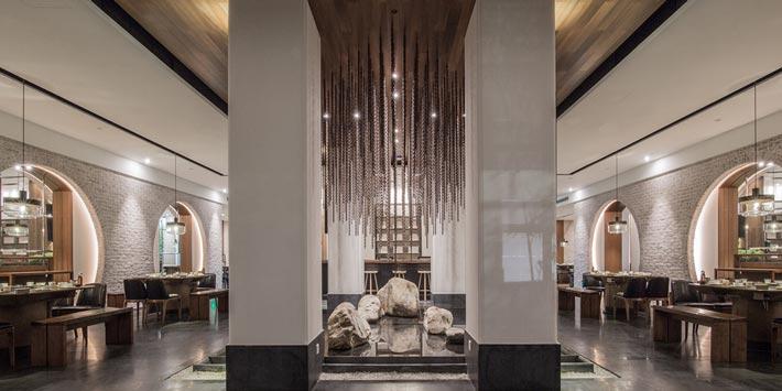 中式火锅店庭院装修设计效果图