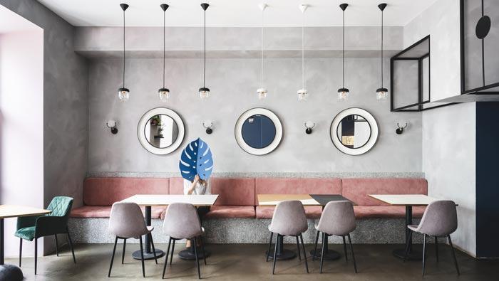 130平方早餐咖啡店客桌装修设计效果图