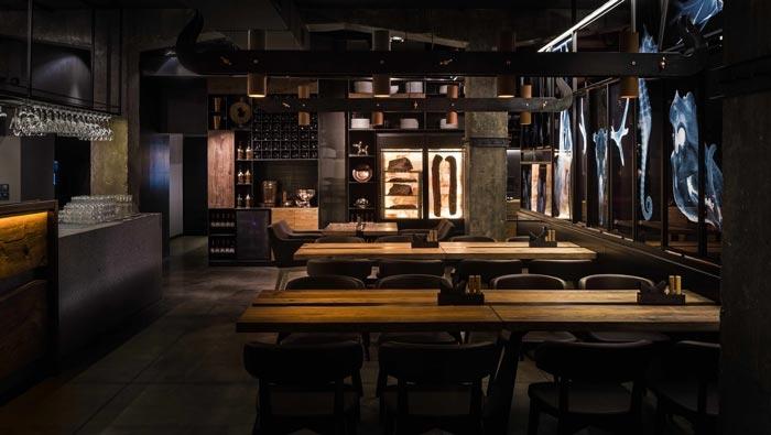 330平方烤肉餐厅前台装修设计效果图