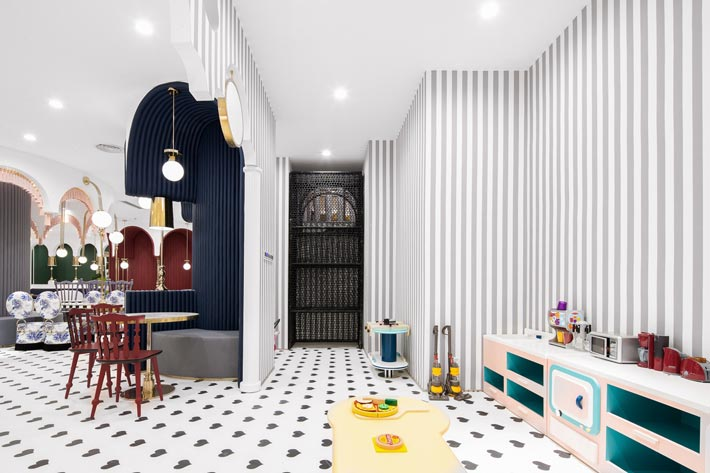 综合体亲子餐厅茶水区装修设计效果图